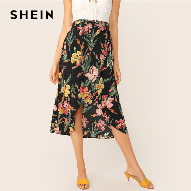 cda8a1184e SHEIN Tropical Floral Print Asymmetrical Wrap Skirt Boho Summer Ladies High  Waist Shift Skirts 2019 Mid-Calf Women Skirts
