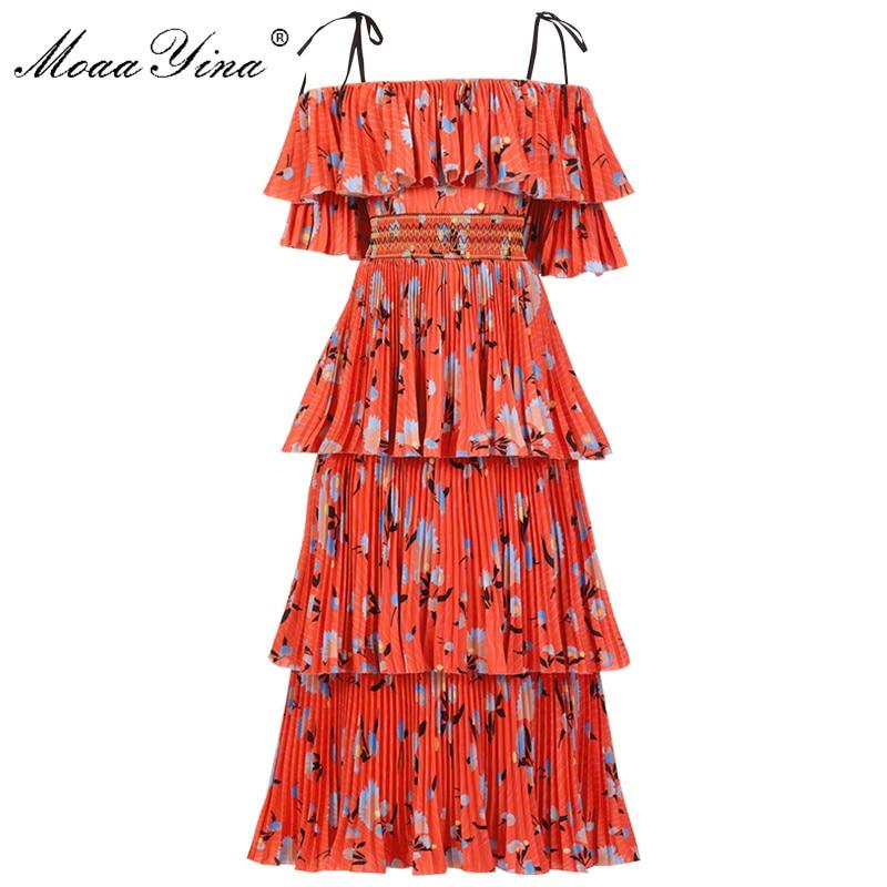 MoaaYina Fashion Designer Runway dress Spring Summer Women Dress Floral-Print Cascading Ruffle Vacation Beach Dresses
