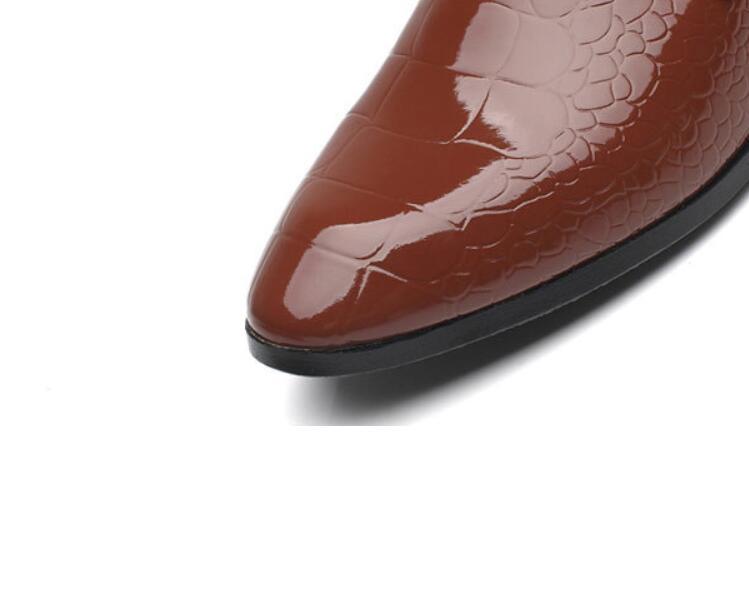 white Cuir Hommes brown Pointu D'affaires Pour Oxford Chaussures wine Black Red Bout Formelles Mariage Brevet De Robe En 5XwqZnH