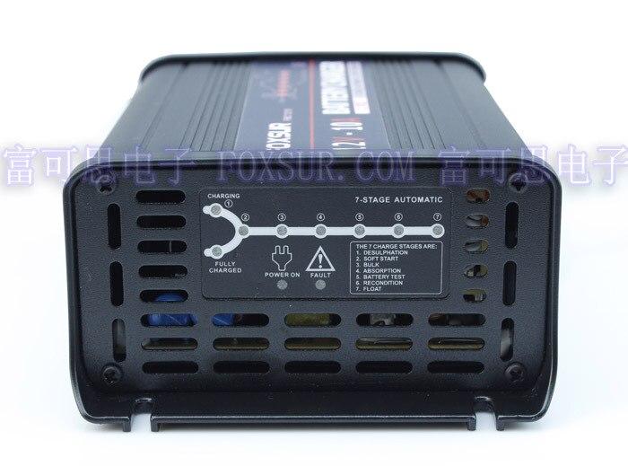 FOXSUR <font><b>12V</b></font> 10A 7-stage smart Lead Acid <font><b>Battery</b></font> Charger, Car <font><b>battery</b></font> charger, MCU controll, pulse charge Maintainer &#038; <font><b>Desulfator</b></font>