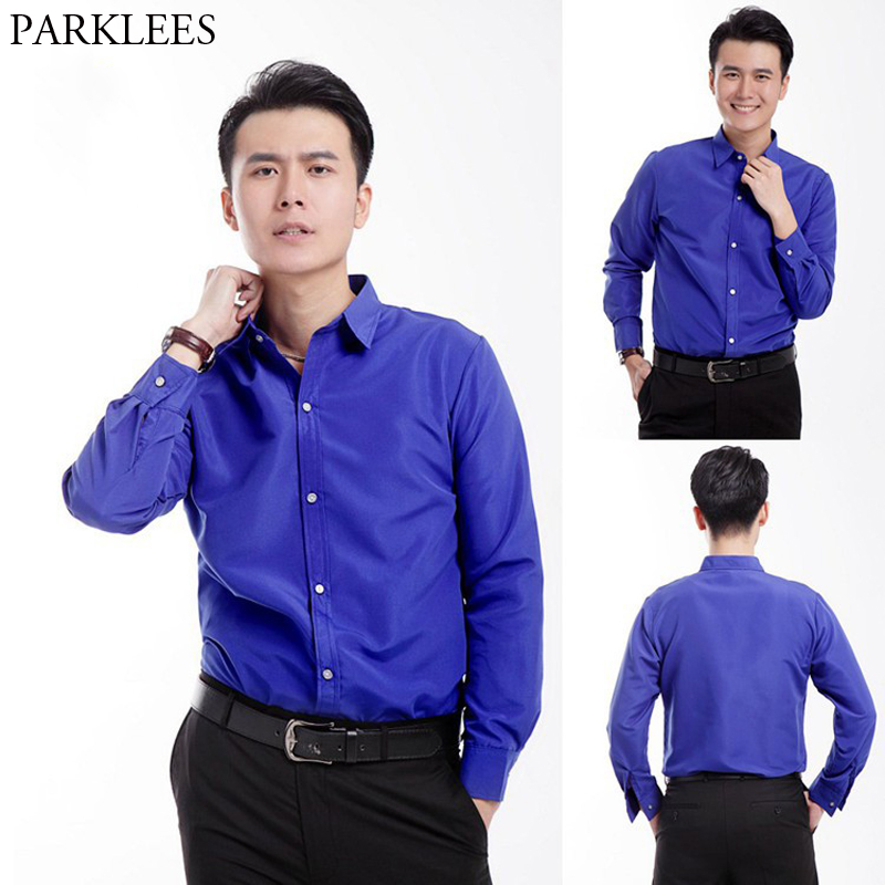 ever popular 2020 search for latest US $11.87 50% OFF|Royal Blue Dress Shirt Men 2019 Brand New Slim Fit Long  Sleeve Solid Color Shirts Mens Casual Prom Stage Shirt for Male Chemise-in  ...