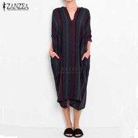 ZANZEA Women Cotton Dress 2017 Autumn Striped Print Dresses Ladies V Neck Casual Loose Vintage Plus