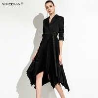 wreeima black Pleated Female Dresses For Women turn-down collar Long Sleeve Irregular Hem Knee-Length Dress Fashion Clothing