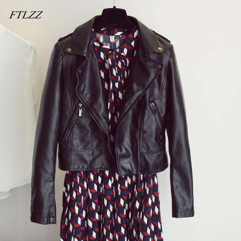 FTLZZ Women Pu   Leather   Biker Jacket Short Slim Vintage Punk Fashion Motorcycle Coat Black Soft Washed Female Street Coats
