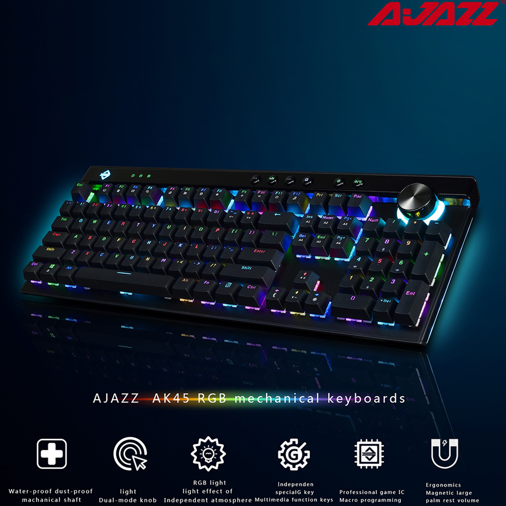 Ajazz AK45 111 Keys RGB Mechanical Keyboard Gaming Box Ergonomic Arc With Dual mode Knob and Wrist Rest for lol  DOTA 2|Keyboards| |  - title=