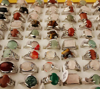 Big turquoises Sea Opal Semi precious Stone Rings Silver Plated random color size Natural Stone Rings 50pcs/Lot Wholesale