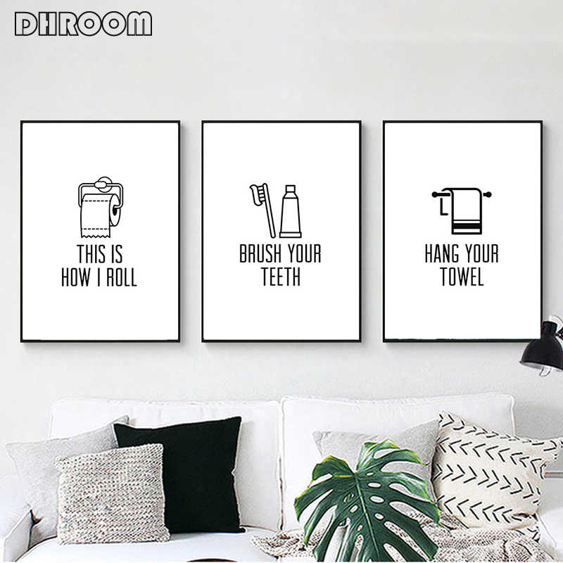 Bathroom Wall Art Brush Your Teeth Sign Canvas Painting Black White Text Poster Print Decorative Pictures Kids Bathroom Art Painting Calligraphy Aliexpress