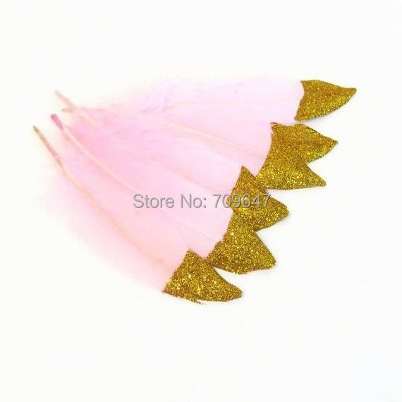 100ppcs/lot!gold Glitter Dipped Feathers Party Supplies Pink And Gold Feathers Boho Wedding Decor,10-18cm Long