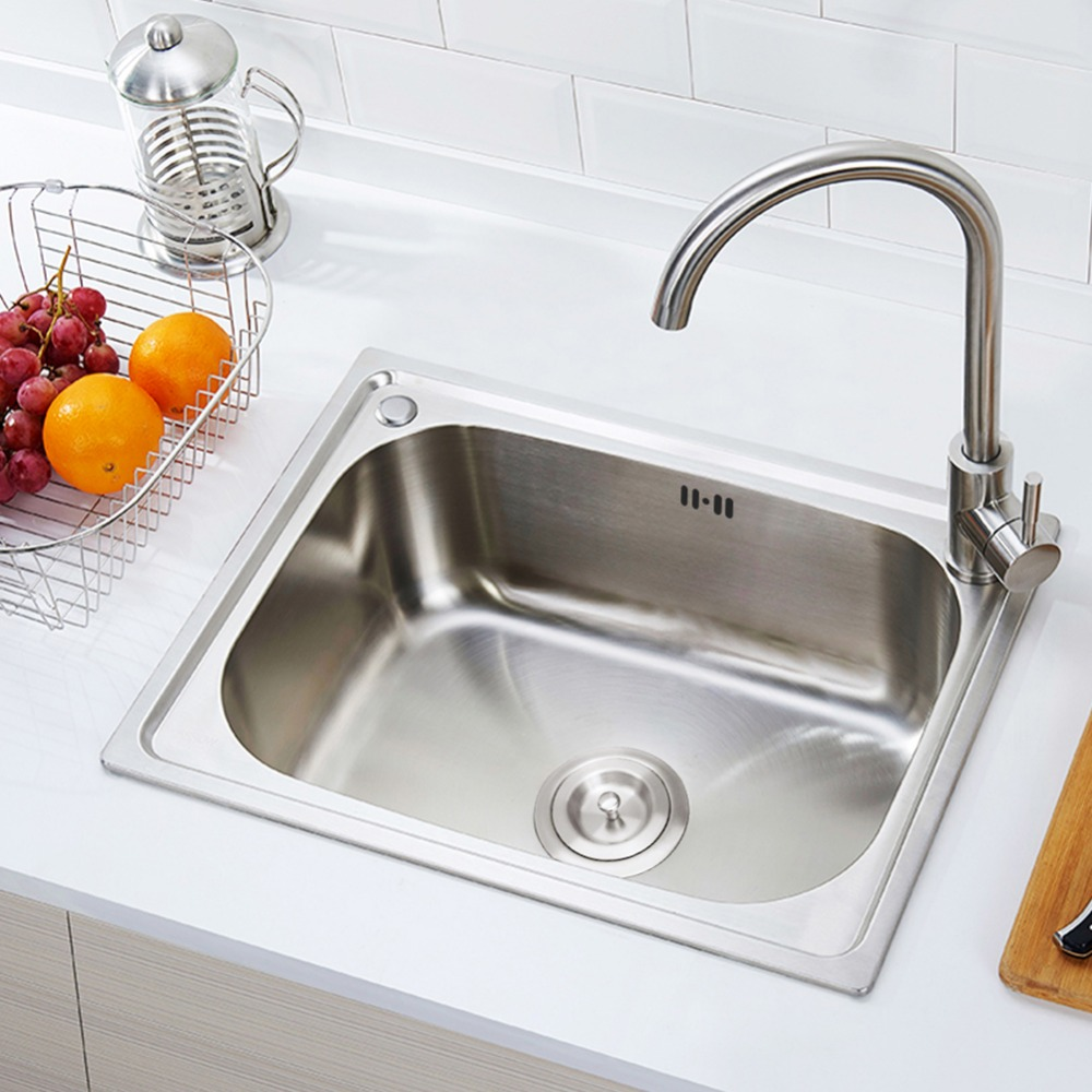 304 Stainless Steel polished Kitchen sink vegetable washing basin with Faucet Drain Assembly Waste Strainer Basket Dispensor 450x390x200mm 304 stainless steel kitchen sink brushed single bowl slot vegetable trough tank with faucet basket drain assembly