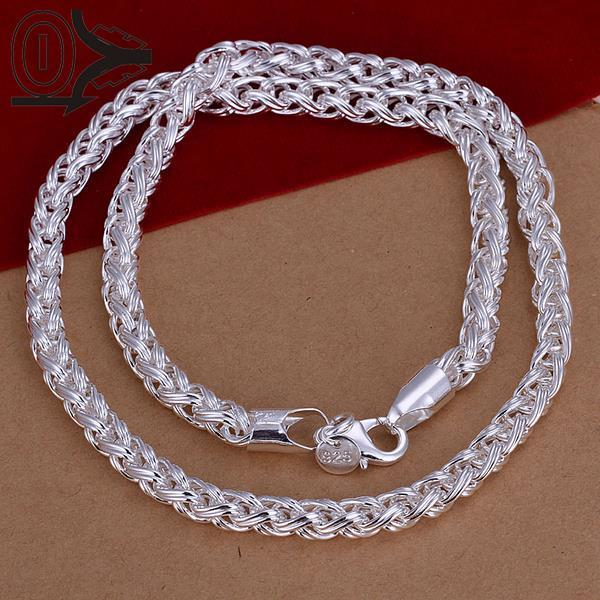 New Design!!Wholesale Silver Plated Necklace & Pendant,Fashion Jewelry Accessories,Mens Twisted Rope Silver Chain Necklaces