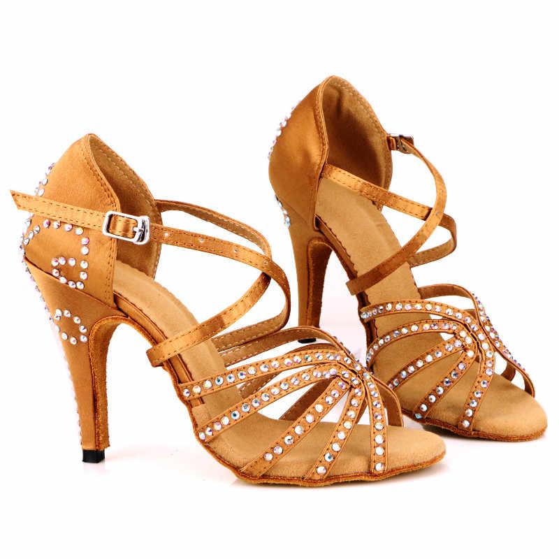 ... Bronze Red Satin Latin Dance Shoes Women s Rhinestones Salsa Party  Shoes 7cm 8cm 10cm High Heeled ... 0ec2673bf938