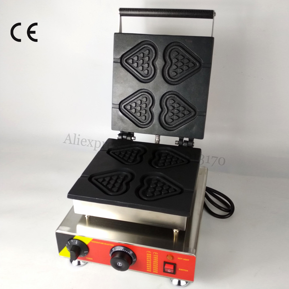 Waffle Baking Machine Stainless Steel Electric Waffle Maker Heart-shape Lolly Waffle 4 Molds 110V/220V 1500W CE ApprovalWaffle Baking Machine Stainless Steel Electric Waffle Maker Heart-shape Lolly Waffle 4 Molds 110V/220V 1500W CE Approval