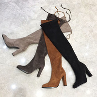 Sexy Long Black Tan Suede Leather Stretch Over The Knee Warm Boots Woman Shoes Chunky High Heel Sock Lace Up Botines Mujer 2019