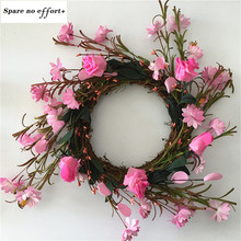 50cm Floral Artificial Rattan Wreath Door Hanging Wall Window Decoration Wreath Holiday Festival Wedding Decor Pink(China)