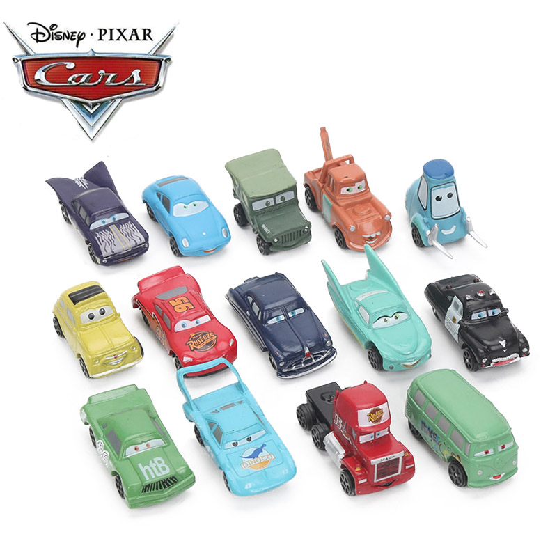 2-7cm 14pcs/lot Disney Pixar Cars 3 Toy Mini Lightning McQueen Mater Jackson Storm PVC Action Figure Car Model Toys For Boys