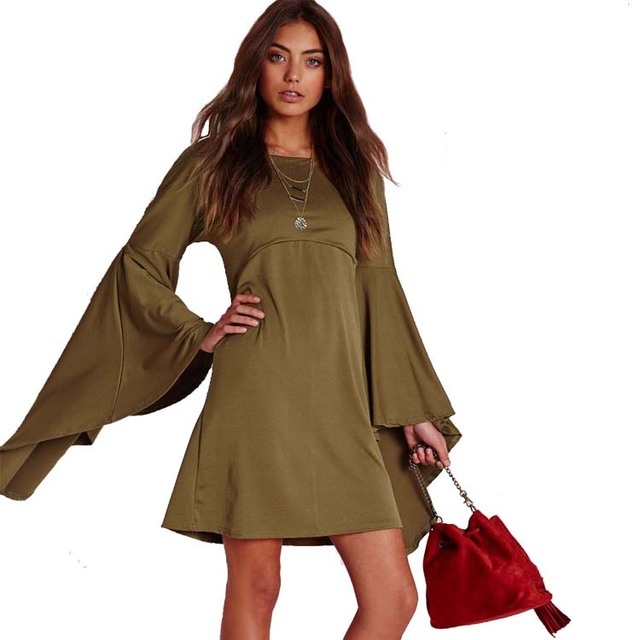 0f5736c3fe16 PREMIUM Olive Flared Oversize BELL SLEEVE Tunic Shift Hippie Loose Gypsy  Dress