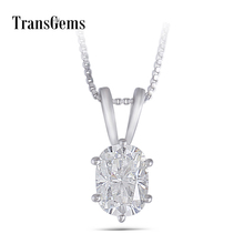 Transgems 14K White Gold Moissanite Pendant 1ct 5X7mm GH Color Cushion for Women