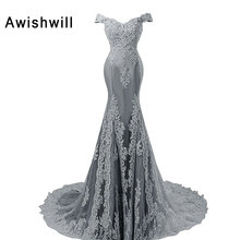 Real Picture Sexy Mermaid Evening Dresses 2017 Off The Shoulder Appliques Beaded Women Formal Dress Party Gown Vestido de Festa