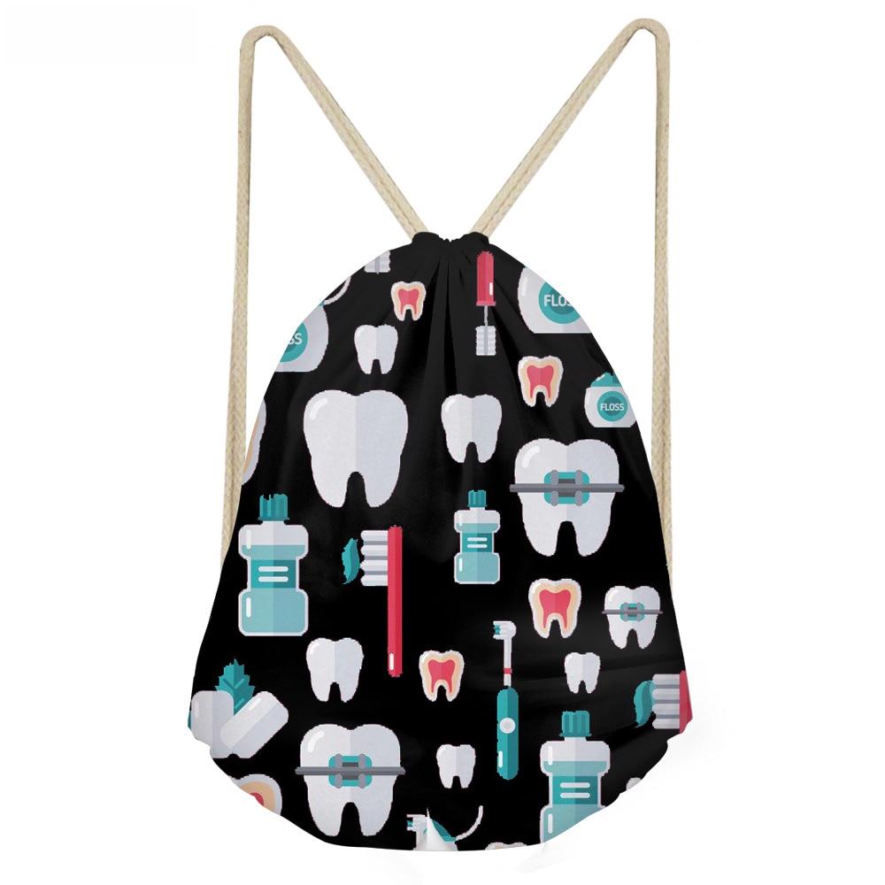 ThiKin Large Black Drawstring Bags Woman Funny 3D Cartoon Dentist Printing Girls Backpacks Teeth Design Softback Sack Bags