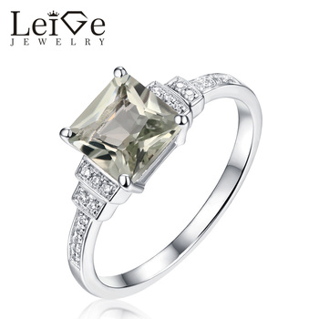 Leige Jewelry Natural Green Amethyst Ring 925 Silver Square Cut Gemstone Rings for Women Wedding Romantic Anniversary Gift