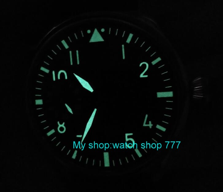 44mm PARNIS light blue dial Asian 6497 17 jewels Mechanical Hand Wind movement men's watch green luminous Mechanical watches 400