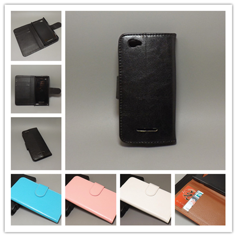 Crazy horse Flip case hold two Cards with 2 Card Holder and pouch slot for Sony Xperia M /Dual/C1905/C1904/C2004/C2005