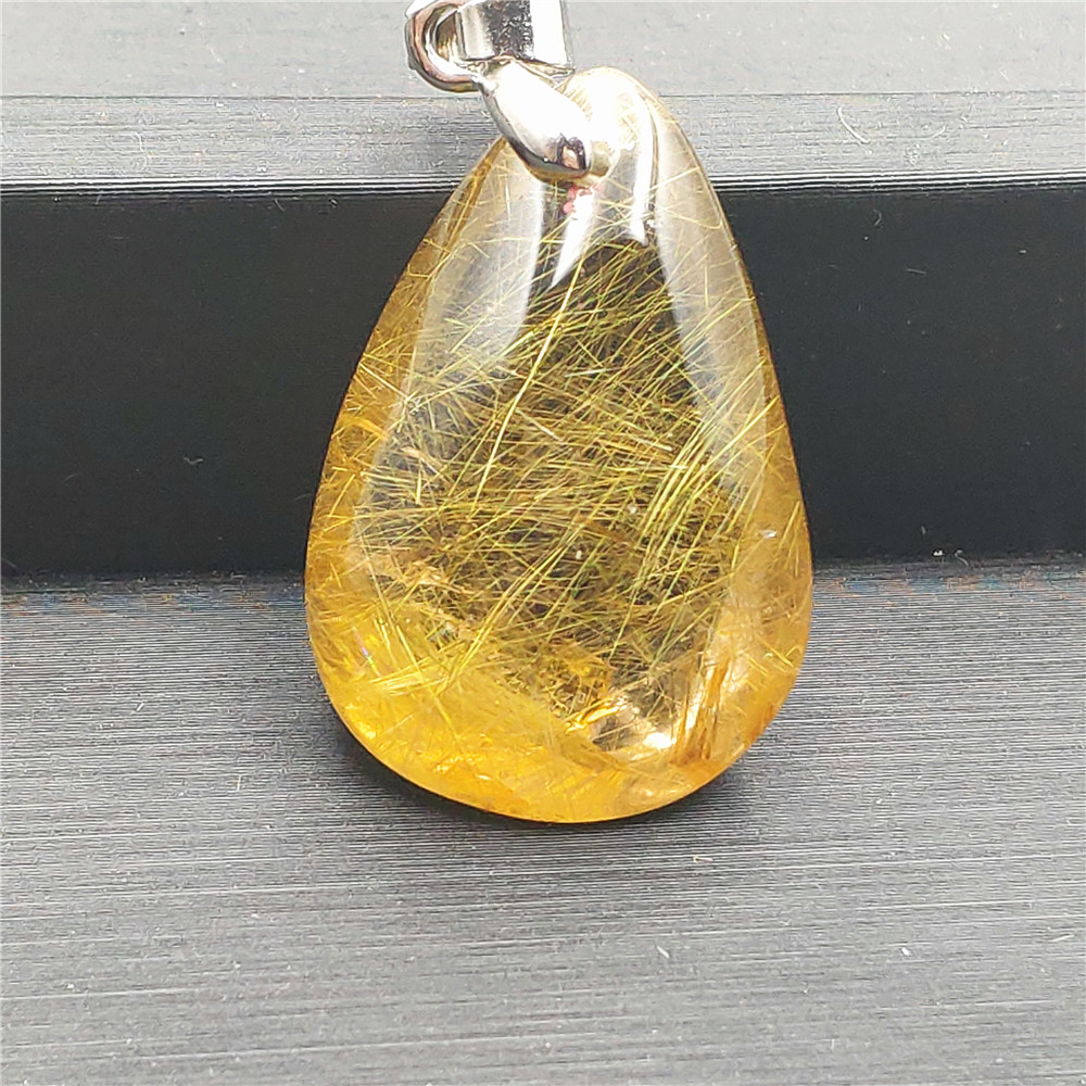 Natural Gold Rutilated Quartz Pendant (6)