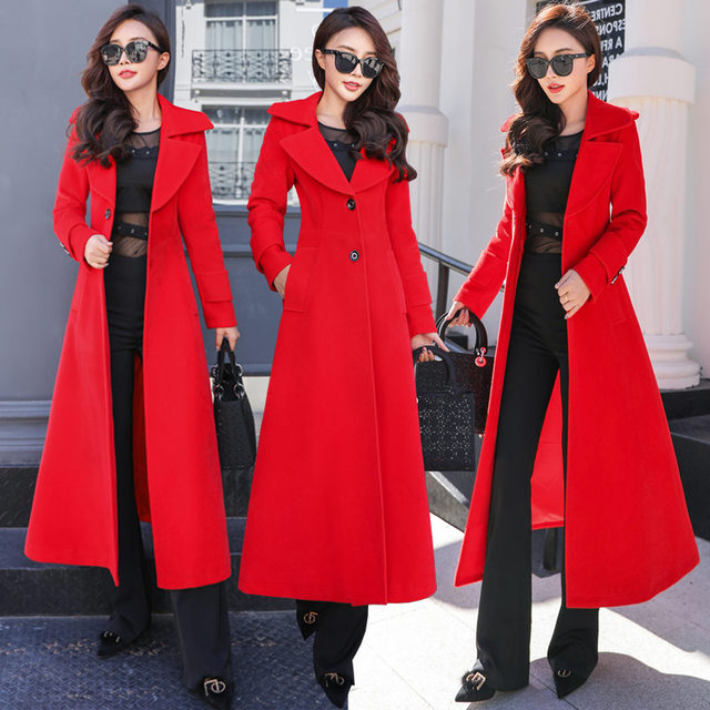 Plus Size 3XL Super Long Wool Coat Women Manteau Femme Fashion Elegant Winter Coat Women Lapel Warm Outerwear Women Parka C5128 3