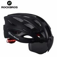ROCKBROS Bicycle Helmet With Lenses Men Women Mountain Road Bike Helmet Breathable 28 Air Vent Cycling