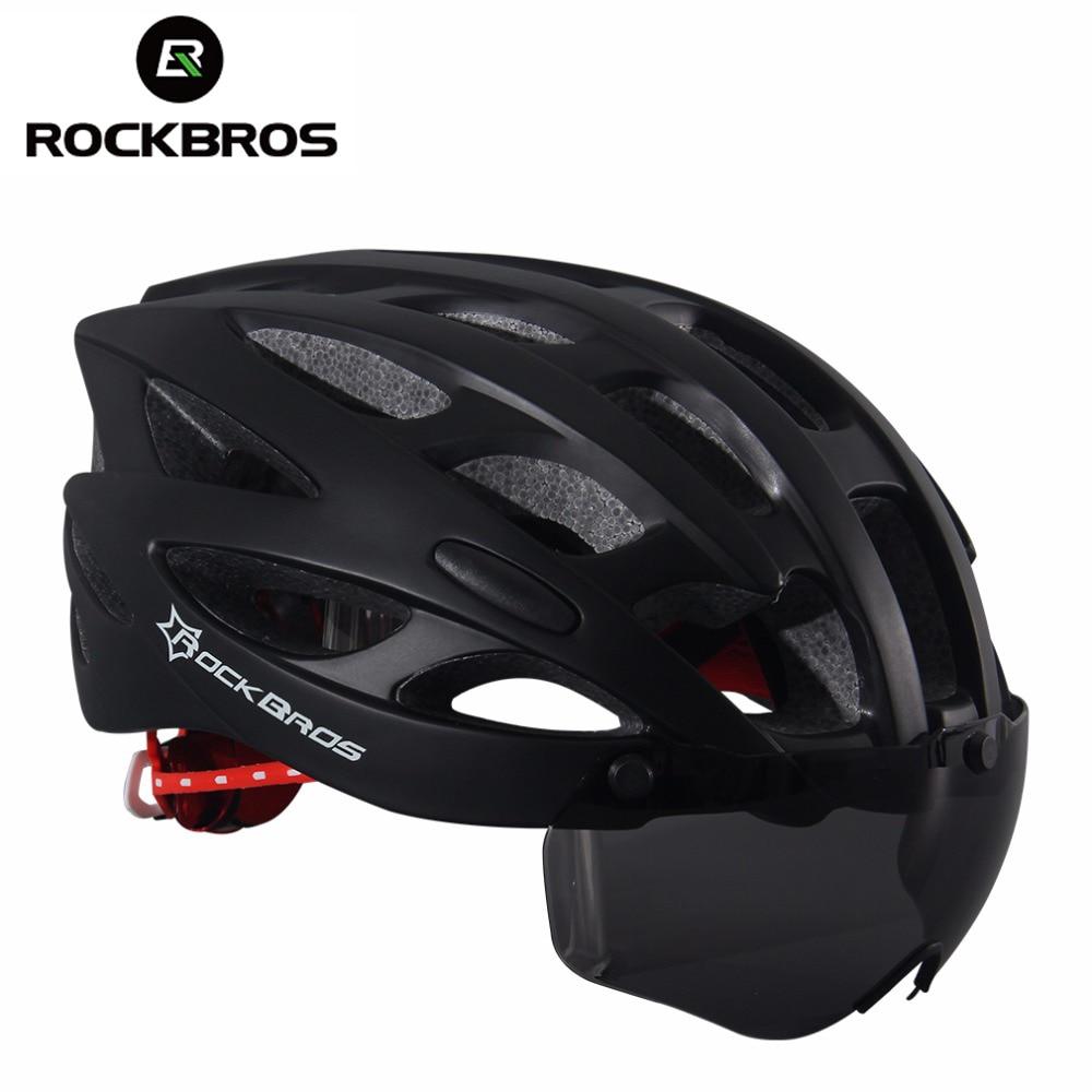 ROCKBROS Bicycle Helmet With Lenses Men Women Mountain Road Bike Helmet Breathable 28 Air Vent Cycling Helmets Accessories H6108 universal bike bicycle motorcycle helmet mount accessories