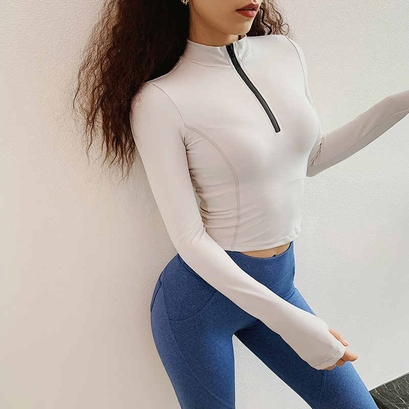 1/2 Zip Workout Crop Tops for Women Long Sleeve Yoga Shirts Workout Tee Running Shirt Track Jacket Gym Sports T shirt Sweatshirt