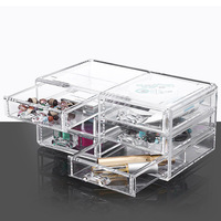 Acrylic Desktop Cosmetic Storage Box Three Layers Drawer Style Silicone Anti Skid Pad Transparent Cosmetic Case