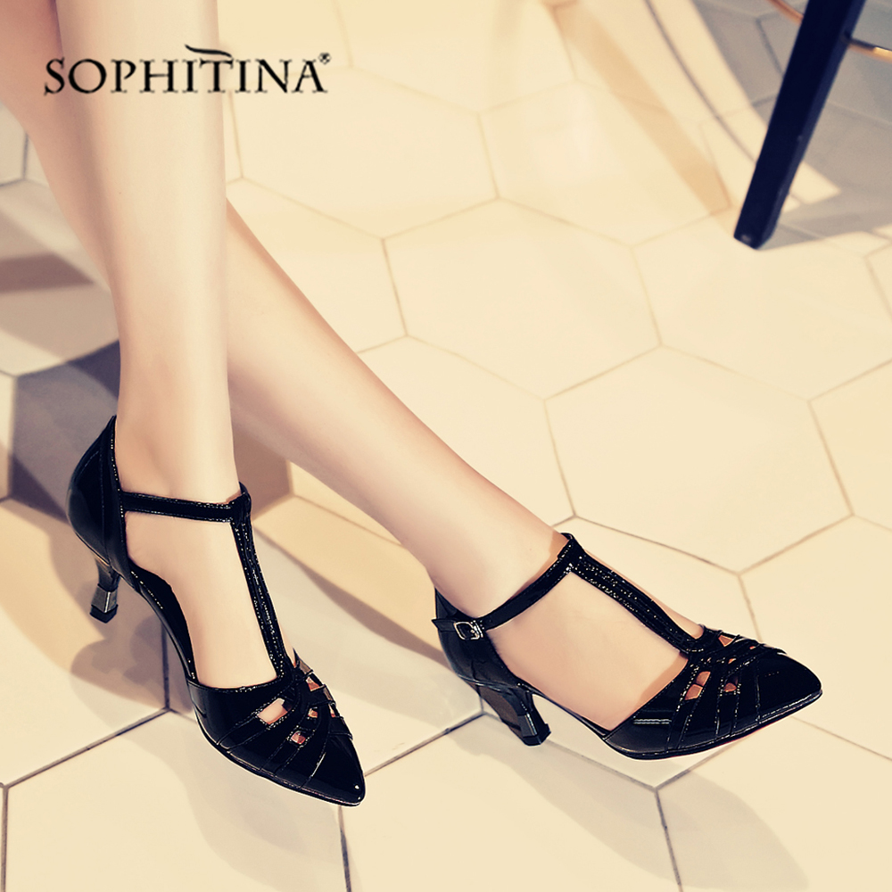 SOPHITINA Comfortable Explosion Sandals Fashion Buckle Strap Cover Heel Shoes High Quality Genuine Leather Women s
