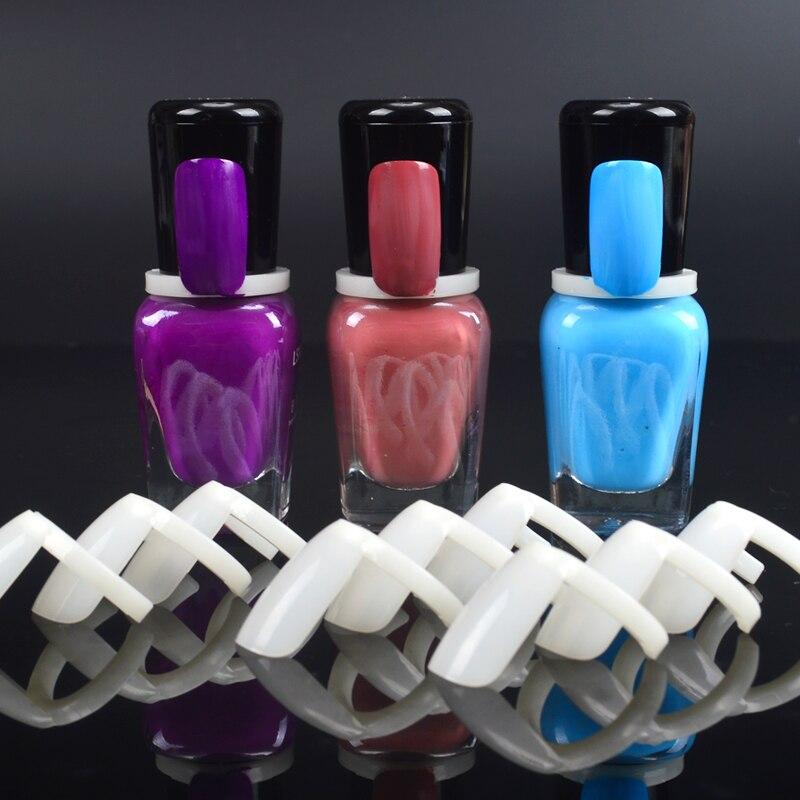 LCJ 50 Pcs Nail Polish UV Gel Color Pops Display Natural Nail Art Ring Style Nail Tips Chart Full Nail