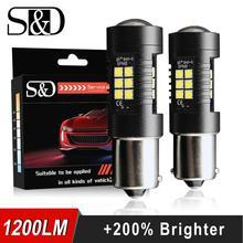 2 шт. P21W LED 1156 BA15S светодиодные лампы Автомобильные фары 1200Lm сигнала поворота Обратный Стоп R5W 3030 светодиодов 12 В 24 В автомобилей лампы D040