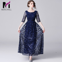 Merchall New 2019 Spring Fashion Designer Elegant Flower Embroidery Appliques Blue Mesh Slim Women Vintage Long Maxi Dress