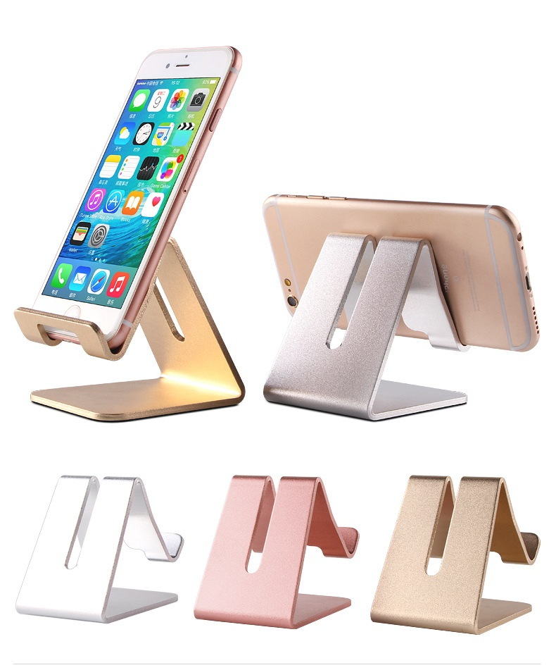 Aluminum Metal Phone Holder Desktop Universal Non-slip Mobile Phone Stand Desk Holder for iPhone 7 Pad For Samsung Tablet