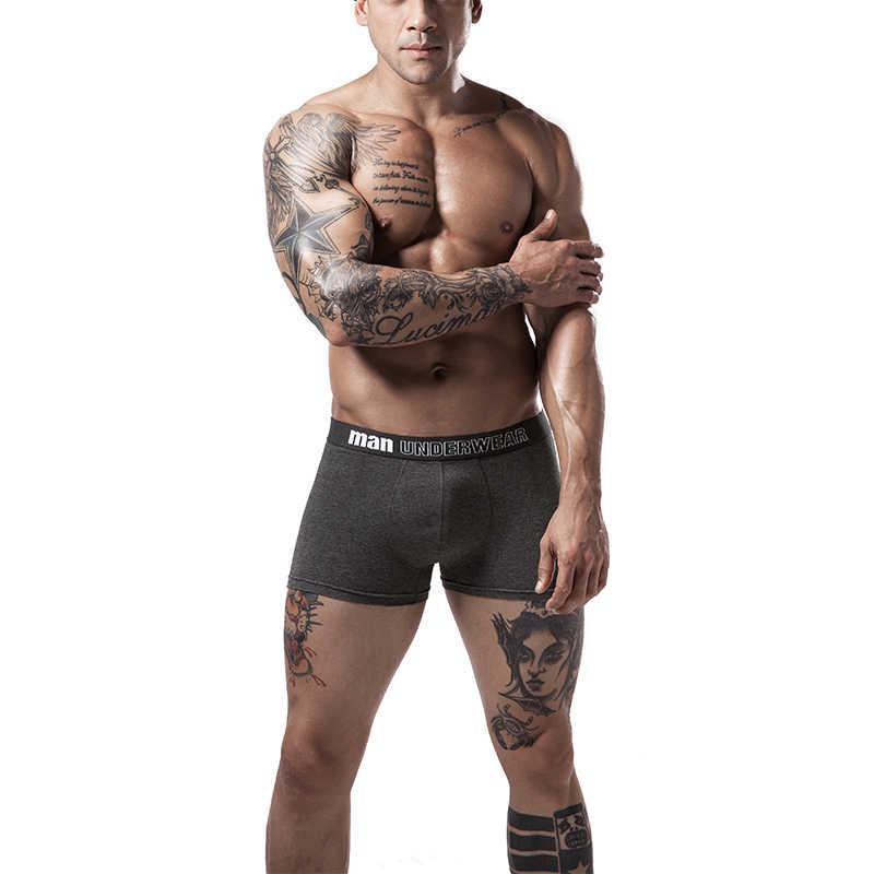 Boxer hommes sous-vêtements hommes coton caleçons hommes purs culottes shorts sous-vêtements boxer shorts coton solide cuecas