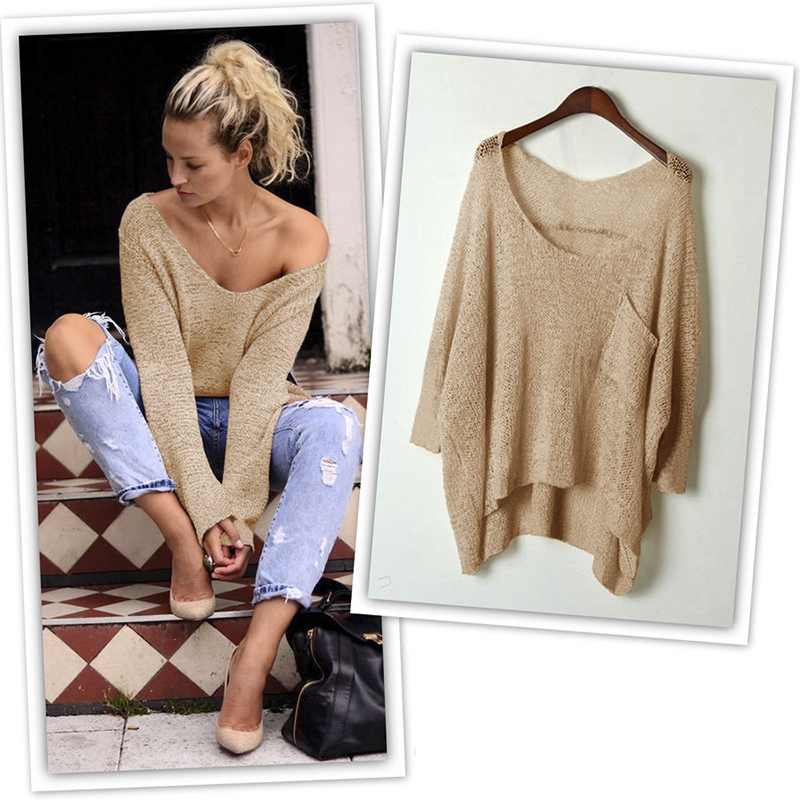 Oversized Blouse Women Off Shoulder Scoop Neck Cable Knit Baggy ...