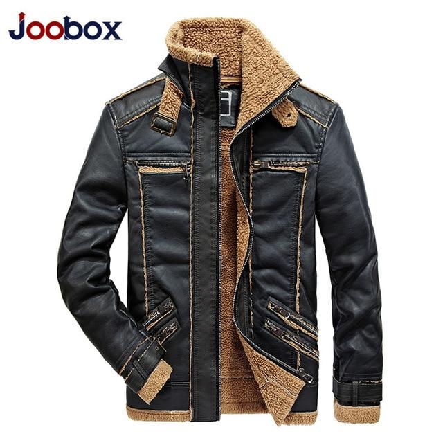 pretty nice eef01 abbc6 US $86.63 |JOOBOX Marca Autunno Inverno Moto Giacche In Pelle Da Uomo Con  collo di Pelliccia Uomo In Pelle Giacche di Pelle Maschile Business Casual  ...