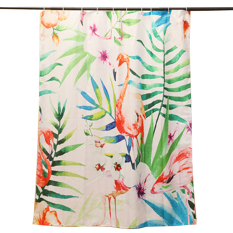 1 Pc Mrosaa Modern Bathroom Curtains Flamingo Plant Printing Bath Shower Curtain Waterproof Polyester Fabric Curtains with Hooks