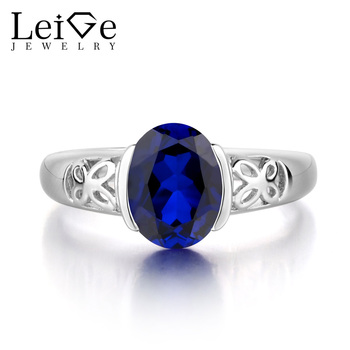 Leige Jewelry 925 Sterling Silver Ring Lab Sapphire Blue Fine Gemstone Birthstone Oval Cut Promise Engagement Rings Gift for Her