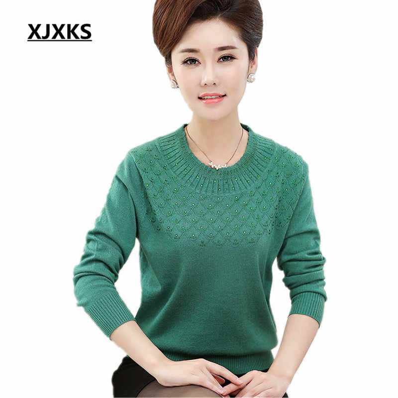 3b010db037ce XJXKS New Spring And Autumn Long Sleeve Sweaters Women Fashion O-Neck  Knitwear Mother Clothing