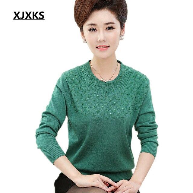 XJXKS חדש אביב ובסתיו ארוך שרוול סוודרים נשים אופנה O-צוואר סריגי אמא בגדים מוצק צבע סוודר חולצות