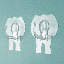 Transparent Strong Self Adhesive Door Wall Hangers Hooks Elephant Head Animal Hanging Kitchen Magic Bathroom Accessories