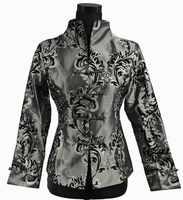 Faddish グレー中国の伝統女性のシルクサテンジャケットコートアウター ML XL XXL xxxl 2306 から 1