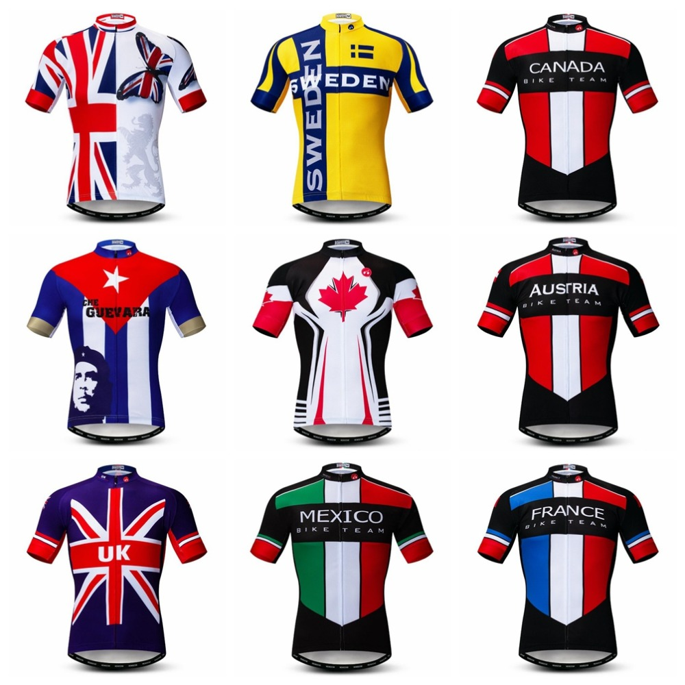 Country 2019 Cycling Jersey Men Mountain Bike Jersey Pro MTB Bicycle Shirts Short Sleeve Team Road Tops Outdoor Sport Jersey Red