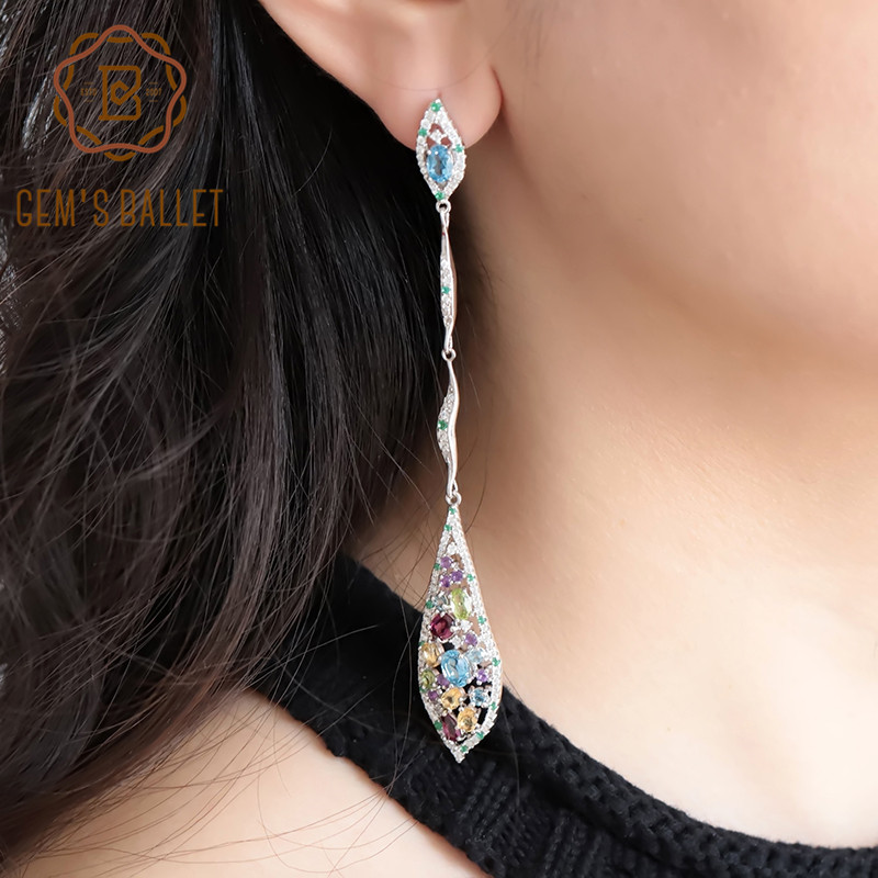 GEM S BALLET New Multicolor Natural Blue Topaz Amethyst Peridot Citrine 925 Sterling Silver Fashion Long