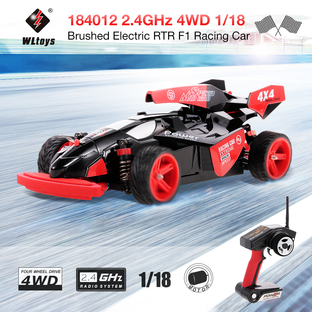 Original WLtoys 184012 2.4GHz 4WD 1/18 45KM/H Brushed Electric RTR F1 Racing Car RC Four-wheel Vehicle VS Wltoys A959-B A959