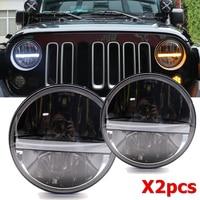For Lada Niva 4X4 7 Inch Led Headlight DRL Amber Turn Signal Lights For Jeep Wrangler JK TJ LJ CJ Rubicon Sahara For Hummer